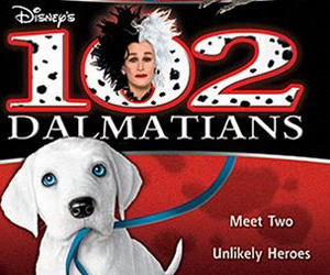 Still shot from the movie: 102 Dalmatians.