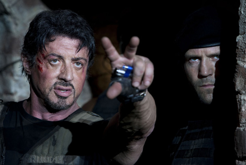 Still shot from the movie: The Expendables.