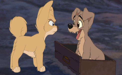 Still shot from the movie: Lady And The Tramp 2: Scamp's Adventure.