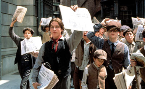 Still shot from the movie: Newsies.