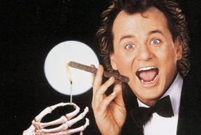 Still shot from the movie: Scrooged.