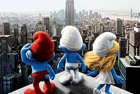 Still shot from the movie: The Smurfs.